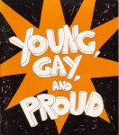 Cover of Young Gay and Proud, 1978, with the title written across a red star. Design: Adam Carr